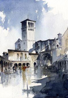 Assisi Painting by Tony Belobrajdic Art Prints, Watercolor Art, Art Painting, Watercolor City, Painting, Watercolor Architecture, Architectural Sketch, Watercolor Landscape, Assisi