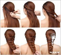 braut flechtfrisur lange haare anleitung haarschmuck