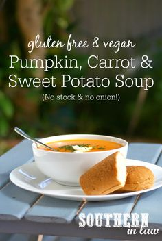 This Healthy Pumpkin, Carrot and Sweet Potato Soup is delicious and SO easy to make. Made without stock or onion, it is great for those with food intolerances whilst also being gluten free, vegan and grain free!