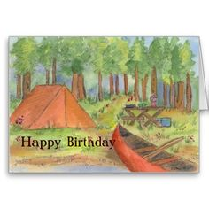 Camping Scene Happy Birthday Card