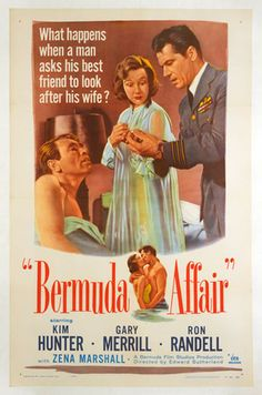"""Bermuda Affair,"" 1956. Mounted on linen. For sale on lushergallery.com. #bermuda #movieposter #vintageposter #lushergallery"