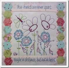 True Friends, free stitchery with pattern, from Hugs from Helen!