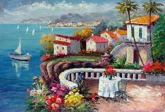 mediterranean sea oil paintings - Cerca con Google