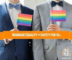 """Today's ruling is a significant one, because it means that safety is no longer dependent on your zip code for gay and lesbian survivors."" -Kim Gandy Read more: http://nnedv.org/news/4494-marriage-equality-means-safety-for-all.html"