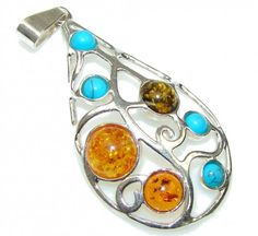 Just Perfect! Baltic Polish Amber & Turquoise Sterling Silver Pendant