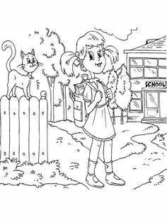First Day of School, : A Girl Student Waiting for the School Bus on the First Day of School Coloring Page School Coloring Pages, Online Coloring Pages, Color Activities, School Colors, One Day, Have Some Fun, Coloring For Kids, First Day Of School, Coloring Sheets