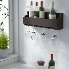 Trent Austin Design Bernardo Luxe Solid Wood Wall Mounted Wine Glass Rack & Reviews | Wayfair Wine Bottle Rack, Bottle Wall, Traditional Bar Carts, Wine Cellar Innovations, Hanging Wine Glass Rack, Wine Stand, Rack Design, Bars For Home, Wood Wall