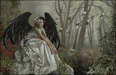 Swan Song - Nene Thomas. Dark angel / fairy in white dress sitting by a lake