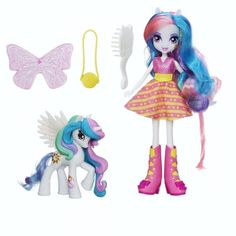 My Little Pony Equestria Girls MLP Princess Celestia is a school principal and a pony princess This Celestia Doll and Pony set includes an 8 inch doll and a 3 inch pony figure, outfit, purse, sun decoration, wings, brush and club card
