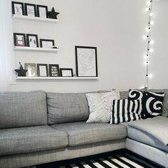 Scandinavian livingroom. My Happy Place, Couch, Throw Pillows, Living Room, Bed, Places, Scandinavian, Furniture, Home Decor