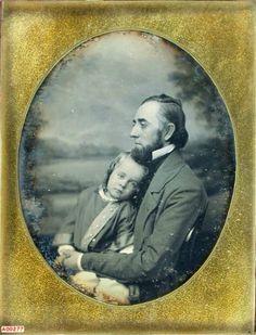 ca. 1850's, [melancholy daguerreotype portrait of a gentleman holding child], Samuel Broadbent  via the Daguerreian Society, Grant Dinsmore Collection