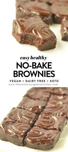 No Bake Brownies WITHOUT DATES Keto + Vegan #nobakebrownies #brownies #veganbrownies #rawbaking #nobake #raw #vegan #glutenfree #vegandesserts Best Vegan Recipes, Vegan Dessert Recipes, Vegan Sweets, Vegan Snacks, Delicious Desserts, Healthy Desserts, Vegan Food, Vegetarian Desserts, Dinner Recipes