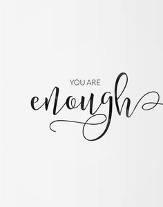 Printable poster You are enough Motivational poster Printable poster Wall art Printable quote Digital poster Scandinavian poster - Zitate - Motivation The Words, Calligraphy Doodles, Caligraphy, Calligraphy Words, Hand Lettering Quotes, Typography, Calligraphy Quotes Motivation, Quotes In Cursive, Motivation Tattoo