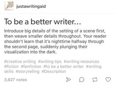 Writing tips.on introducing details. Creative Writing Prompts, Book Writing Tips, Writing Words, Writing Quotes, Writing Resources, Writing Help, Writing Skills, Writing Ideas, Writing Prompts For Writers