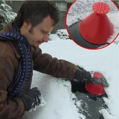 Buy 2018 New Outdoor Funnel Windshield Magic Snow Remover Car Tool Cone Shaped Ice Scraper Car Cleaning, Cleaning Hacks, Glass Cleaning, Cleaning Products, Car Products, Cleaning Brushes, Cleaning Agent, Washer Fluid, Ice Scraper