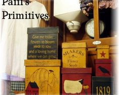 Shakers Flower Seeds primitive stacking boxes