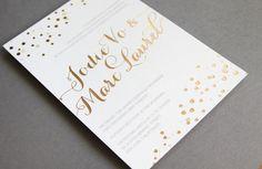 Gold foiled foil stamped wedding invitations #polkadots #foil #weddinginvitations