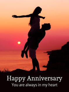 Romantic Lovers Anniversary Card. This love card, with its image of a couple embracing in front of a stunning sunset, serves a dual purpose. You can give it to another couple on their anniversary or give it to your dearest love. Or use it for both - this card is so lovely, no one could blame you. Whomever receives it will be reminded of joyous occasions with their significant other and they will be touched by its literally heartfelt message.