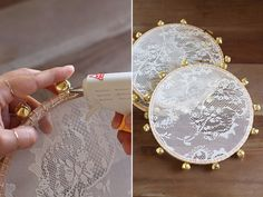 I wish I can say I thought of this idea. But really, it was this creative bride and her stunning wedding that inspired these handmade lace tambourines. The timing of the discovery could not have been… Diy Lace Tambourine, Wedding Favours, Wedding Gifts, Handmade Wedding, Chic Wedding, Wedding Day, Henna Night, Henna Party, Wedding Decorations