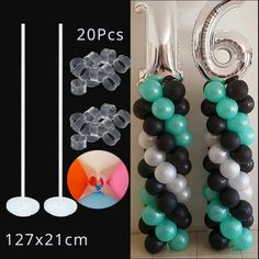 Cyuan 7 Tubes Balloons Holder Column Stand Clear Plastic Balloon Stick Birthday Party Decoration Kids Wedding Balloons Garlands - New Sites Balloon Tower, Balloon Stands, Balloon Columns, Balloon Arch, Balloon Ideas, Ballon Arch Diy, Ballon Ballon, Balloon Garland, Wedding Balloon Decorations