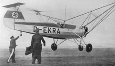 Focke-Wulf Fw 61 (1936) is often considered the first practical, functional helicopter. It was also known as the Fa 61, as Focke began a new company—Focke-Achgelis—after development had begun. The first prototype, the V 1 D-EBVU, had its first free flight on 26 June 1936 with Ewald Rohlfs at the controls.[4] By early 1937, the second prototype, V 2 D-EKRA, was completed and flown for its first flight. On 10 May 1937, it accomplished its first autorotation landing with the engine turned off.