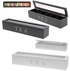Rectangular Plain Wooden Storage Box Tea Bag Chest Caddy Clear Lid 6 Compartment
