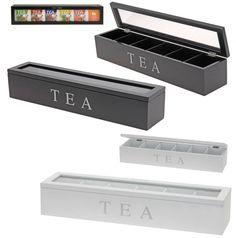 Rectangular Plain Wooden Storage Box Tea Bag Chest Caddy Clear Lid 6 Compartment | eBay