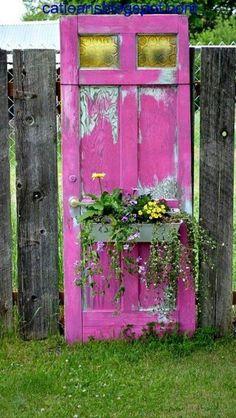 pink door garden gate w flower box