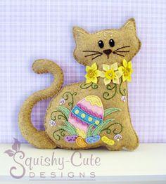 Chat en peluche animaux Pattern - patron de couture de feutre Plushie & tutoriel - Jelly Bean le chat de Pâques - motif de broderie PDF