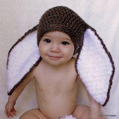 CROCHET PATTERN: Big Floppy Ear Bunny Rabbit Beanie/ Hat. Baby, Toddler, Child, Teen & Adult Sizes.Make it for Easter or Photo Prop. by PoshThePineapple on Etsy https://www.etsy.com/listing/185606458/crochet-pattern-big-floppy-ear-bunny