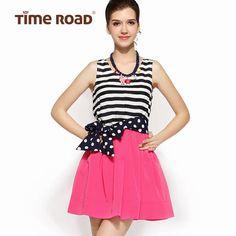 Time RoaD/汤米诺2014夏条纹海军撞色甜美连衣裙韩版T172A3194001