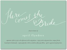 Signature White Bridal Shower Invitations Cute Calligraphy - Front : Basil