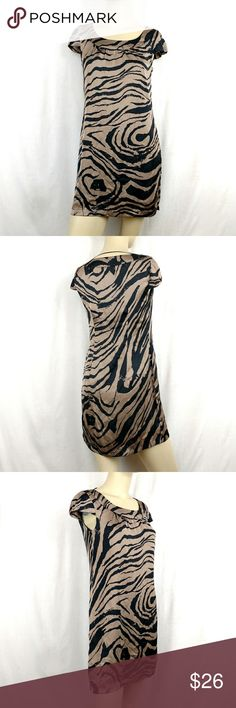"H&M New Animal Print Shift Mini Lined Dress size 4 H&M New Animal Print Shift Mini Lined Dress Capped Sleeves casual work women's size 4 New zebra print taupe brown and black, capped sleeves, shift mini dress, wear casual or to work. Bust 34' Length 32""  (G H&M Dresses"
