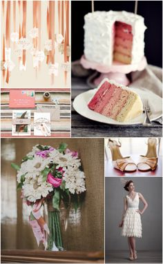 Blush & Lace, Weddings, Inspiration, Pink, Peach, Cake, Floral, Bouquet, Fabric, Shoes, Invitations, short Wedding dress,