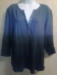 Womens Ombre Top Size XL Blue Floral Rhinestone Button V Neck Thermal Look d3