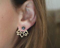 Ear jackets orange sapphire sapphire earrings gold by Toshjewelry