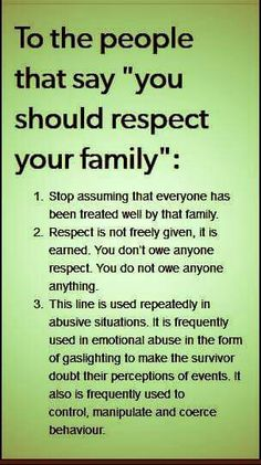 Respect your family