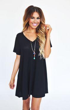Long V Tunic- Black - Dottie Couture Boutique