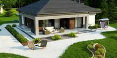 Z377 to wyjątkowy dom z kategorii projekty domów z dachem czterospadowym Village House Design, Bungalow House Design, Village Houses, Modern Barn House, Modern House Design, House Outside Design, Dream House Exterior, Outdoor Living, Outdoor Decor