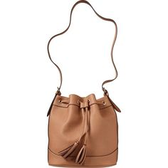 Womens Faux Leather Tasseled Bucket Bags Size One Size - Mocha brown (42 CAD) ❤ liked on Polyvore featuring bags, handbags, faux-leather handbags, brown purse, old navy, vegan leather purses and bucket handbags