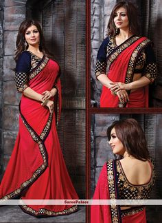 Ayesha Takia Red Georgette Designer Saree
