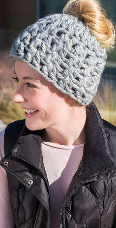 Free On-Trend Messy Bun Hat Crochet Pattern from www.RedHeart.com
