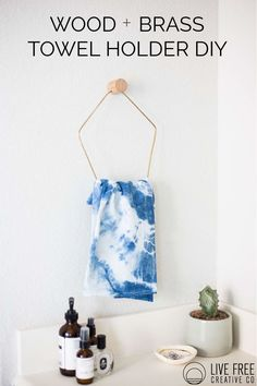 Brass + Wood Towel Holder DIY-Live Free Creative Co.