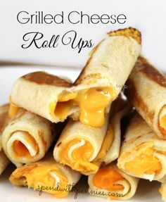 Grilled Cheese Roll Ups  Make a bunch of Maria Emmerich's tortillas and do this and freeze for portion snacks.