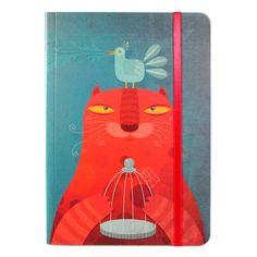 cuaderno gato rojo mediano