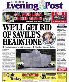 The Jimmy Savile case makes the front page of the Yorkshire Evening Post