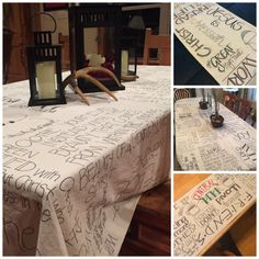 I create custom table runners and tablecloths, made from thick canvas material. I handletter each design (free hand), and I can customize the look for every client. (Here's a little back story to how this adventure began.) You give me a list of inspirational quotes, names, phrases, inside jokes, scriptures, movie lines, whatever you want, …