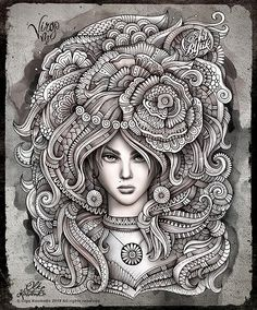 Zodiac ~ Virgo by Olka Kostenko on Behance --> If you're in the market for the top-rated coloring books and writing utensils including colored pencils, gel pens, watercolors and drawing markers, logon to http://ColoringToolkit.com. Color... Relax... Chill.