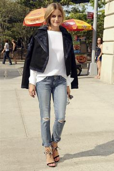 Don't Distress: This Denim Looks Good On Everyone #refinery29  http://www.refinery29.com/celebrity-pictures-distressed-denim#slide5  Olivia Palermo The epitome of polished, Palermo finds a way to make even ripped denim look unspeakably chic.