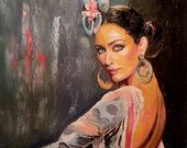 Original Oil Painting Flamenco Dancer - Large Size - Tango Passion Dancer - Latin Woman Dancing - Figurative Painting